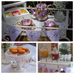 Vintag purple and gold high tea tea cart set up by www.tickledpinkcelebrations.com.au