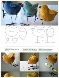 Pajaritos Sewing Art, Sewing Toys, Fabric Birds, Paper Flowers Diy, Felt Ornaments, Spring Crafts, Craft Fairs, Easter Crafts, Needle Felting