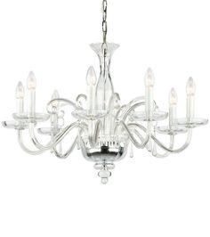 Murano glass chandelier; hand-blown clear Venetian glass ...
