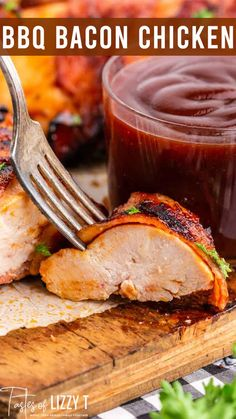 Bacon-Wrapped Barbecue Chicken: Grilled chicken marinated in barbecue sauce and wrapped in savory bacon. Fits paleo, gluten free and sugar free diets.