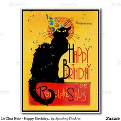 Party Hat and Streamers! Send Happy Birthday Greetings  with this #LeChatNoir Postcard by #SpoofingTheArts #Zazzle #Gravityx9 -