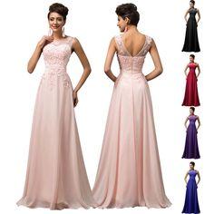 Women V-Back Bead Long Gown Evening Prom Dress Bridesmaid Wedding Party Formal #GraceKarin #BallGown #Formal