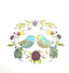 Lovebirds colored by SJ Colouring, Adult Coloring, Coloring Books, Artist Pens, Love Birds, Doodle Art, Doodles, Bloom, Illustration