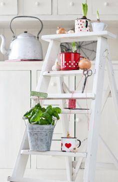 Ladder, green, spring, Minty House kitchen, enamel
