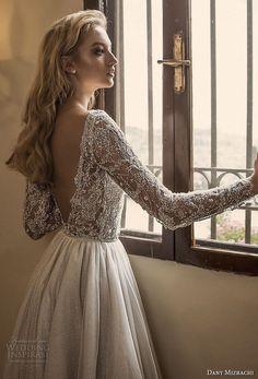 dany mizrachi spring 2018 bridal long sleeves bateau neck heavily embellished bodice glamorous a line wedding dress open v back sweep train (4) bv -- Dany Mizrachi Spring 2018 Wedding Dresses | Wedding Inspirasi #wedding #weddings #bridal #weddingdress #bride ~