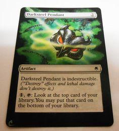 MTG Altered Painted Darksteel Pendant Darksteel #WizardsoftheCoast
