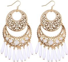 Bijou Brigitte  Drop Earrings - White of Gold