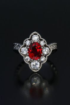 Natural Unheated Burmese Ruby (Mogok 3.20ct ) and Diamond Ring