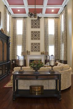 love the bands of brown. Beautiful, warm living space with coffered ceiling My Living Room, Living Room Decor, Living Spaces, Living Area, Room Interior Design, Interior Design Services, Charlotte Nc, Tall Window Treatments, Norman