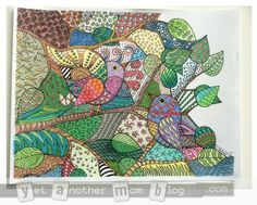 Zentangle Birds Coloring Page - my colored sample - Yet Another Mom Blog