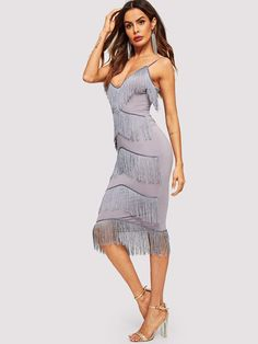 Layered Fringe Patched Party Bodycon Cami Midi Dress - Dresses Cami Midi  Dress 1f8ad755b263
