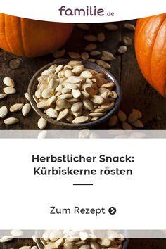 Aber statt das glitschige Innere des Kürbis einfach wegzuwerfen, könnt ihr die Kerne ganz einfach in einen leckeren und gesunden Snack verwandeln. #kürbis #herbst #kürbiskerne #gesund #diy #rezept #snack #herbst #halloween Beans, Autumn, Vegetables, Food, Fall Halloween, Kid Recipes, Food For Kids, Food Dinners, Cooking