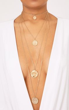 Gold Multi Layered Lion Necklace Featuring a multi layered design and lion  pendant feature, . 7a249d01fc1
