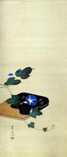 Title:福面・紅梅・朝顔図 より 朝顔図 Morning Glories from Mask of Good Fortune, Red Plum Blossoms, Morning Glories Artist:鈴木其一 Suzuki Kiitsu