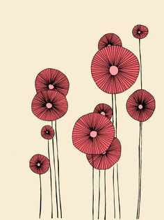 Poppy Flowers - Illustration, Print. $20,00, via Etsy.