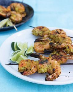 Curried Indian Shrimp by marthastewart: Spice-shelf basics blended with lime juice and ginger form an easy Indian-inspired marinade for shrimp.  #Shrimp #Curry #Indian