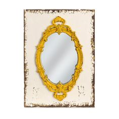 American Mercantile Wood Framed Mirror, Yellow >>> Insider's special offer that you can't miss : Decor Mirrors