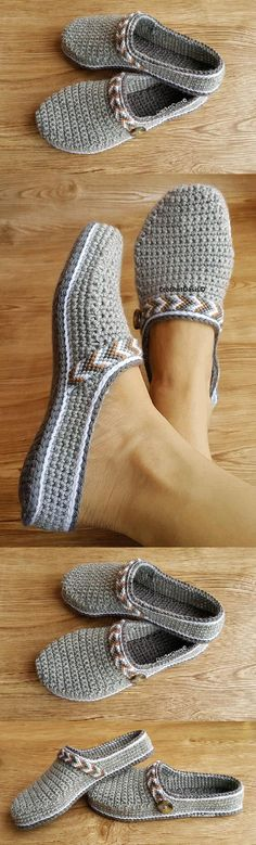 Women's Tribal Clogs / Low-back Shoe crochet pattern - Handarbeit - Zapatos Ideas Crochet Shoes Pattern, Crochet Boots, Shoe Pattern, Crochet Slippers, Knit Or Crochet, Crochet Crafts, Crochet Clothes, Crochet Stitches, Crochet Baby