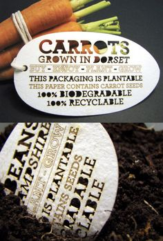 eco packaging - label in plantable and contains seeds - awesome. totally wish i had thought of this! Seed Packaging, Brand Packaging, Packaging Design, Brand Manifesto, Design Manifesto, Eco Brand, Eco Friendly Paint, Graphic Design Typography, Sustainable Design