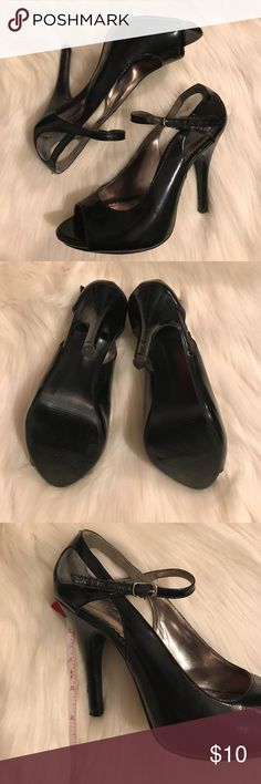 """Diba black heels Diba black patent leather 4.5"""" heels. Adjustable strap. Some of the strap is chipping off, as reflected in the price. Re-Posh item; heels were too steep for me. Diba Shoes Heels"""