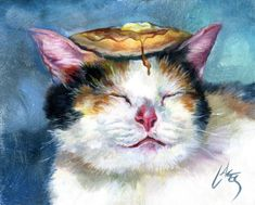 Paintings of cats with pancakes on their heads, by Dan Lacey (I'm sorry to get political)