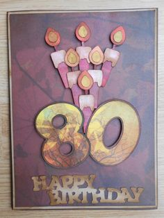 Card for Dad's 80th birthday. Cricut Birthday Bash Cartridge and Basic Grey papers. See blog for details.