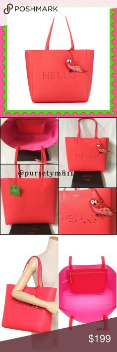 """Authentic Kate Spade Leather Handbag AUTHENTIC  Gorgeous leather tote from Kate Spade Lightweight & very spacious. Approximate measurements: Length 15"""" Height 12 Width 5"""" Beautiful pink interior w/ zip pocket and a lovely large bird charm. Color: Watermelon. New w/ tag & dust bag. NO TRADE ❌ kate spade Bags Totes"""