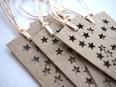 Star Bright Long Gift Tags - set of  6 Fun Tags - Recycled Kraft Cardstock on Etsy, $3.00