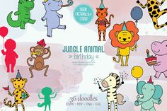 Animal Birthday, Jungle Animals, Hand Coloring, Vector Graphics, Animal Drawings, Design Bundles, How To Draw Hands, Doodles, Doodle