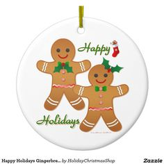 Happy Holidays #Gingerbread Man Boy Girl Double-Sided Ceramic Round Christmas #Ornament #Christmas #HomeDecor #HolidayGifts #Gifts #Shopping