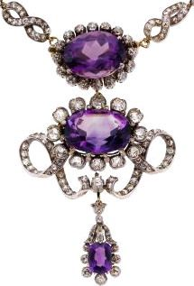 Victorian Amethyst, Diamond, Silver-Topped Gold Necklace, Netherlands The necklace features oval and cushion-shaped amethyst weighing a total of approximately 89.35 carats, enhanced by European-cut diamonds weighing a total of approximately 17.25 carats, set in silver-topped 14k gold. Gross weight 84.30 grams. Centerpiece Dimensions: 3-1/2 inches x 2 inches