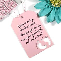 Baby is Coming Shower Favor Tags Set of 20 Light Pink Baby Feet Tags