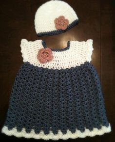 Crochet Baby Dress Items similar to Crochet baby dress with flower and hat on E...