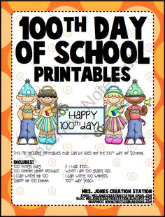 100th Day of School Printables product from MrsJonesCreationStation on TeachersNotebook.com