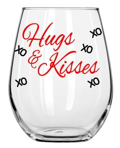 Hugs and Kisses - Stemless Wine Glass