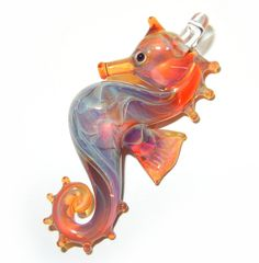 SEAHORSE Pink/Lavender Lampwork Boro Glass Pendant by jilleglass on Etsy<3<3<3