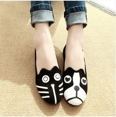 2014 Korean Spring autumn cute shoes personality the cat dog velvet flat shoes HOT-selling Preppy Style casual flat shoes female