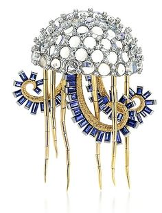War Portuguese man-of-war brooch designed for a treasured someone special to comfort after being stung! With Baguette sapphires and cabochon moonstones, Schlumberger, Tiffany & Co