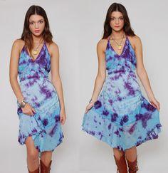 Vintage 80s Purple & Blue Tie Dye Halter Dress by LotusvintageNY