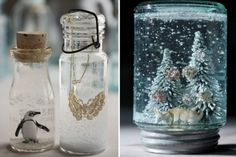 Love this idea! Use baby food jars for DIY snow globes. Snow Globe Mason Jar, Diy Snow Globe, Mason Jars, Winter Wedding Decorations, Christmas Decorations, Winter Weddings, Thanksgiving Decorations, Seasonal Decor, Homemade Christmas Gifts
