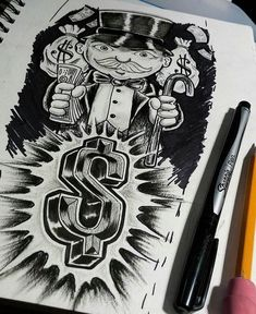 Monopoly tattoo sketch by rokmatic_ink Chicano Art Tattoos, Forarm Tattoos, Body Art Tattoos, Sleeve Tattoos, Tattoo Stencils, Tattoo Fonts, Tattoo Sketches, Tattoo Drawings, Money Rose Tattoo