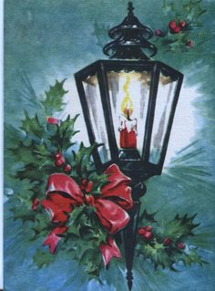 Vintage Sunshine Christmas Card - Lamp with Holly and Pink Bow