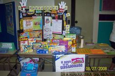 Display board with sample Box Tops products for Back-to-School night.
