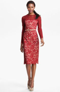 Maggy London Embroidered Lace Overlay Midi Dress | Nordstrom $158