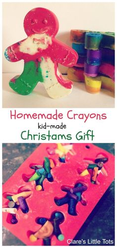 Kid made Christmas gift homemade crayons