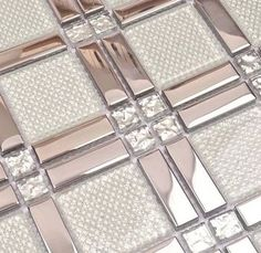 strip stailess steel mixed square glass & diamond for bathroom shower wall mosaic tiles black kitchen backsplash tiles in Cheap Price on White Mosaic Bathroom, Master Bathroom, Small Bathroom, Glitter Grout, Glitter Floor, Glitter Gif, Glitter Lipstick, Tiled Hallway, Bad Inspiration