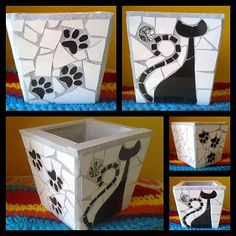 Que cosa fuera corazón, que cosa fuera...: 30/10/11 - 6/11/11 black and white mosaic pot planter with cat silhouette and dog paw prints. Love it! by patsy