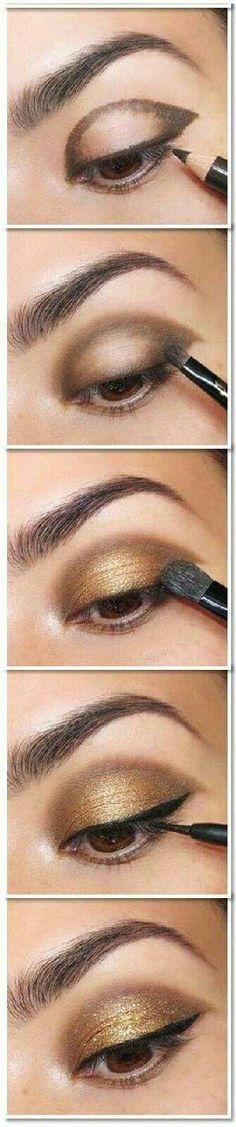 Maquillaje para ojos cafés estilo egipcio. Foto: mymakeupideas.com