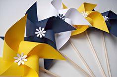 Paper Pinwheels in Nautical Colors. Wedding Decor. Navy Blue Yellow & White (set of 10). $32.00, via Etsy.