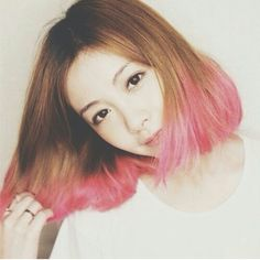 Pink ombre on bob hair